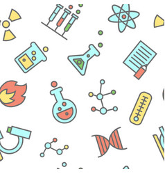 chemistry seamless pattern laboratory flasks icons vector image