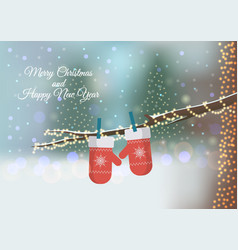 christmas greeting card with red knitted mittens vector image