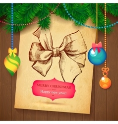 Christmas hand drawn wreath sketch paper vector