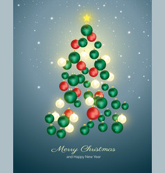 christmas tree made with christmas balls vector image