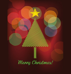 christmas trees and colorful bokeh vector image