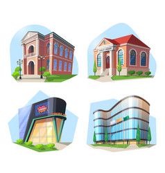 cinema and library modern building and theater vector image