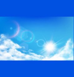 cloudy sky daytime bright sun sunny day clouds vector image