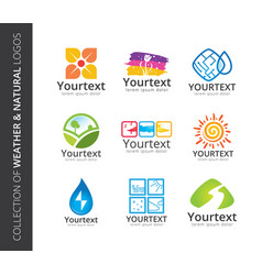 collection weather and natural logos vector image