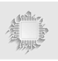 CPU Microprocesso Paper style icon vector image