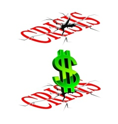 Crisis concept with down dollar vector image