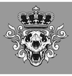 Crown and the lion skull vector