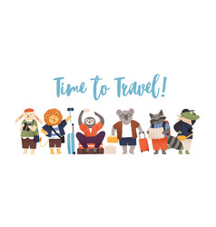 Cute animals with luggage or baggage traveling vector