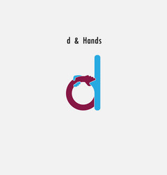 d- letter abstract icon and hands logo design vector image