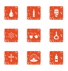 Doping icons set grunge style vector