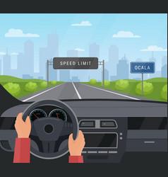 Driving car safety concept vector
