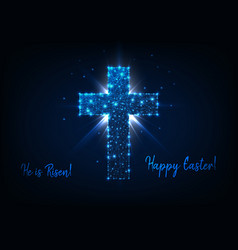Easter greeting card with shining low poly cross vector
