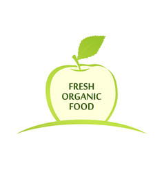 emblem of fresh organic food with green vector image