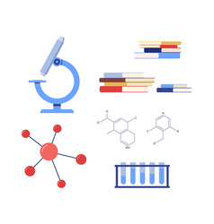 equipment and symbols chemical course flat vector image