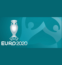 European football cup 2020 balls with victory cup vector