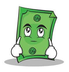 eye roll dollar character cartoon style vector image