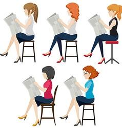 Faceless women reading vector image