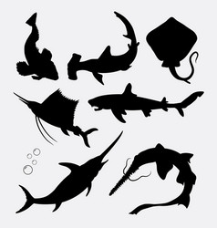 Fish animal stingray shark swordfish silhouette vector