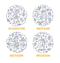 Fitness doodle vector