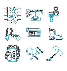 Flat line icons for rappeling equipment vector image