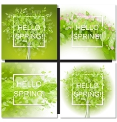 Fresh spring green tree leaves frame vector image