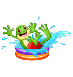 Funny frog cartoon sitting above inflatable pool w vector