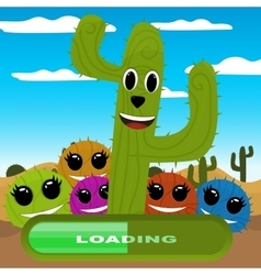 Gaming locations funny logic cactus desert vector