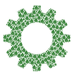 Gear wheel mosaic of plant leaf icons vector