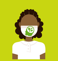 Girl wearing protective face mask with leaves vector
