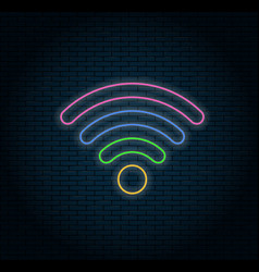 glowing neon wifi icon vector image