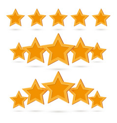 Gold five star quality product insignia symbol set vector