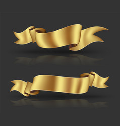 gold ribbon banner vector image