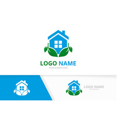 Green house and leaves logo combination unique vector