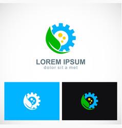 Green leaf ecology wheel logo vector