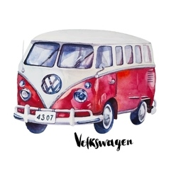 Hand painted watercolor vintage red car vector
