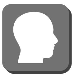 Head Profile Rounded Square Icon vector image