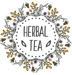 Herbal tea tags background Round frame with herbs vector
