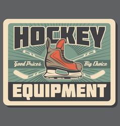 Ice hockey stick puck and skate sport equipments vector