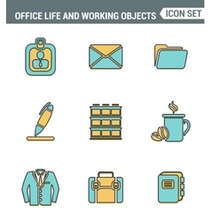 Icons line set premium quality of business items vector image