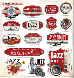 Jazz music badges and labels retro black vector