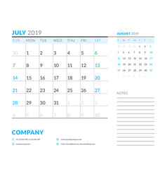 july 2019 week starts on sunday calendar planner vector image