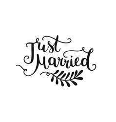 just married hand drawn lettering vector image