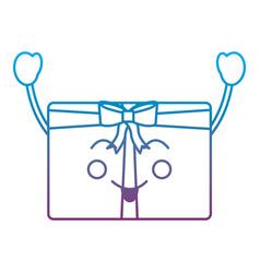 kawaii christmas gift box ornament with bow vector image