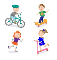 Kids Sports Characters Cycle Racing Skateboarding vector image