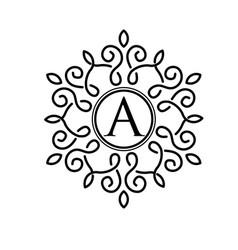 letter a with elegant frame design vector image