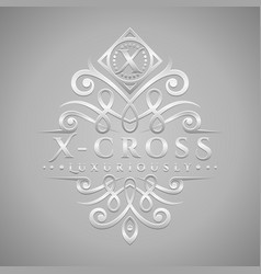 Letter x logo - classic luxurious silver vector