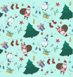 light green christmas pattern with doodle elements vector image