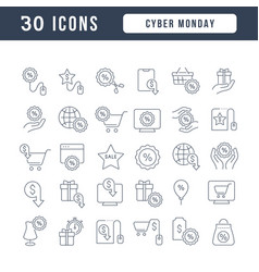 Line icons cyber monday vector
