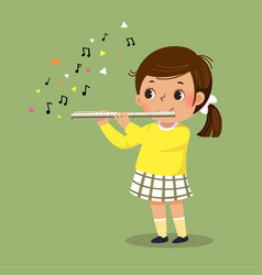 Little girl playing flute vector