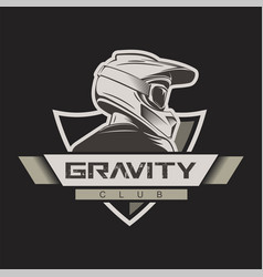 man with full face motocross helmet t-shirt print vector image
